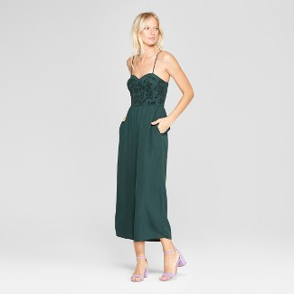 Women's Velvet Top Bra Cup Strappy Jumpsuit - Xhilaration™ Green XS