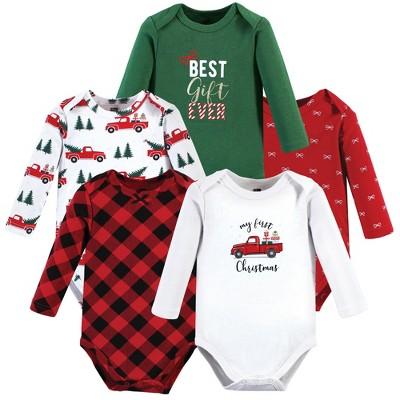 Hudson Baby Infant Girl Cotton Long-Sleeve Bodysuits, Christmas Gift