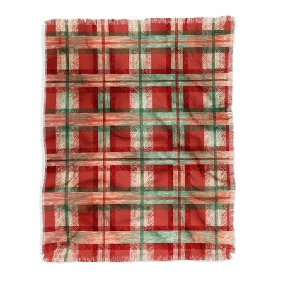 "50""x60"" Pimlada Phuapradit Christmas Tartan Woven Throw Blanket Red - Deny Designs"