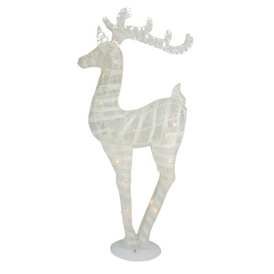 """Northlight 36"""" White and Silver Glitter LED Lighted Reindeer Christmas Tabletop Decor"""