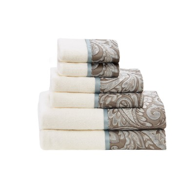 6pc Charlotte Jacquard Towel Set Blue