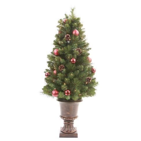 Slim Christmas Tree.4ft Pre Lit Slim Artificial Christmas Tree Potted Decorated Pine Clear Lights Wondershop