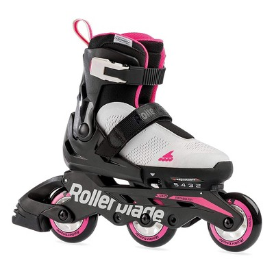 Rollerblade Microblade 3WD Inline Adjustable Lace Free Roller Skates for Kids, Gray and Candy Pink