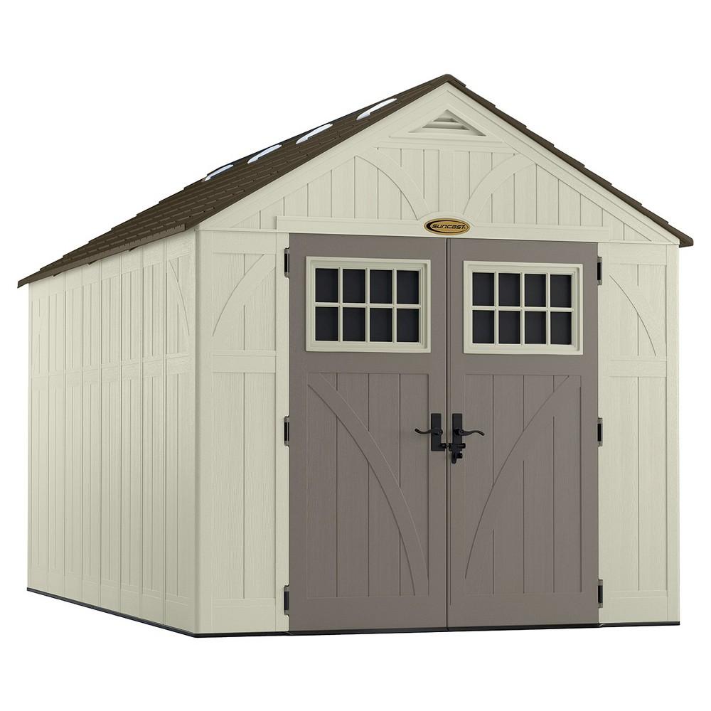 Resin Tremont Storage Shed 8' X 13' - Vanilla/Gray - Suncast, White Gray