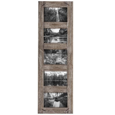 4 x 6 inch Decorative Distressed Wood Picture Frame with Nail Accents - Holds 5 4x6 Photos - Foreside Home & Garden