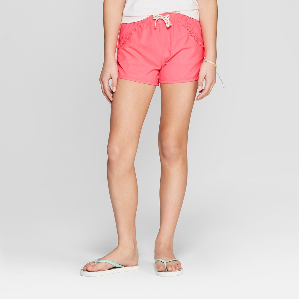 Plus Size Girls' Ruffle Pocket Swim Shorts - Cat & Jack Coral M Plus, Pink