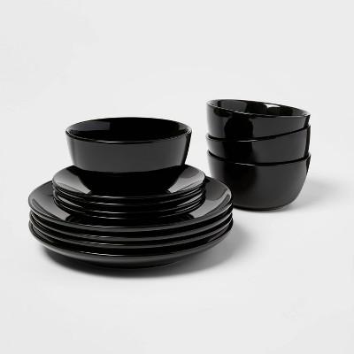 12pc Stoneware Avesta Dinnerware Set Black - Project 62™