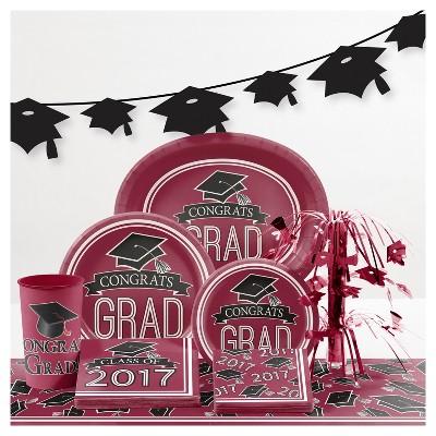 Graduation School Spirit Burgundy Red Party Supplies Collection