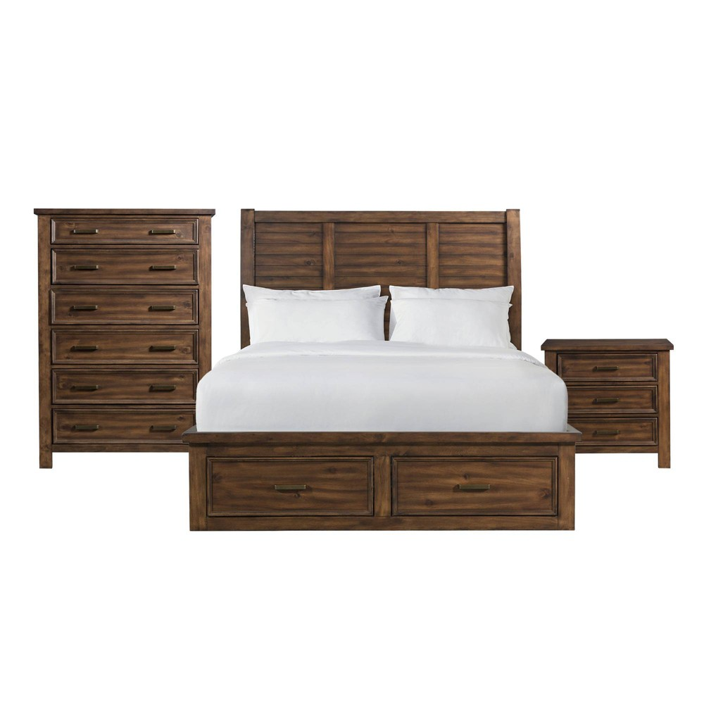 Image of 3pc Queen Damen 6 Drawer Platform Storage Bedroom Set Chestnut - Picket House Furnishings