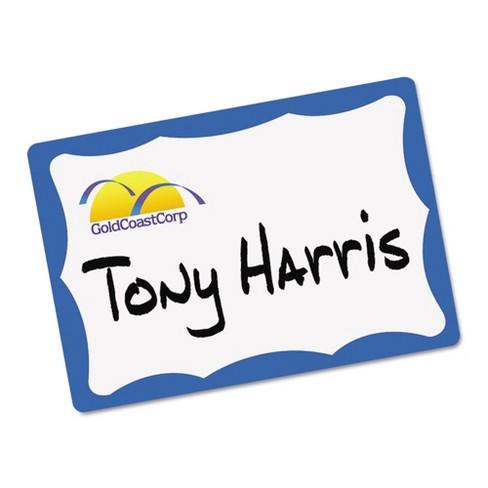 Avery® Printable Self-Adhesive Name Tag Badges, 2-11/32 x 3-3/8, Blue  Border, 100/Pack