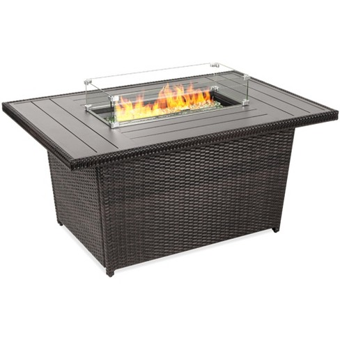 Best Choice Products 52in Outdoor Wicker Propane Fire Pit Table 50 000 Btu W Glass Wind Guard Tank Holder Cover Target
