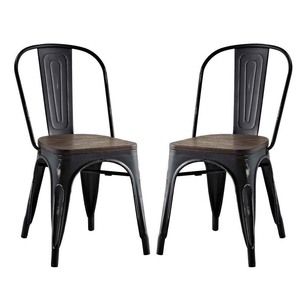 Promenade Dining Side Chair Set of 2 Black - Modway