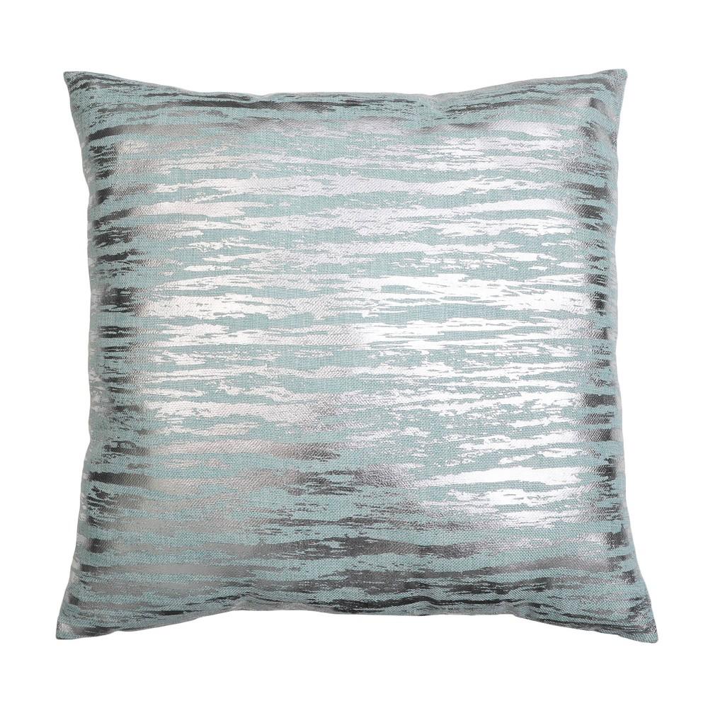 22 34 X22 34 Oversize Jessa Streak Metallic Print Square Throw Pillow Turquoise D 233 Cor Therapy