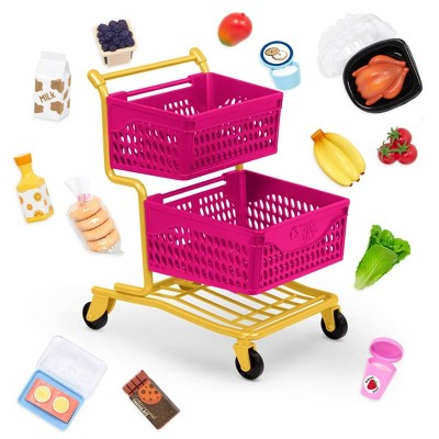 """Our Generation Grocery Day Shopping Cart Pink & Yellow Accessory Set for 18"""" Dolls"""