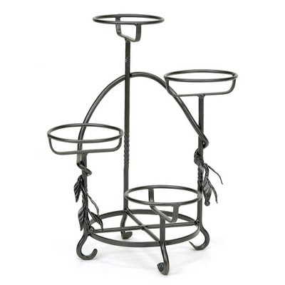 """18"""" Cascading Iron Plant Stand for 4 Planters Graphite - ACHLA Designs"""