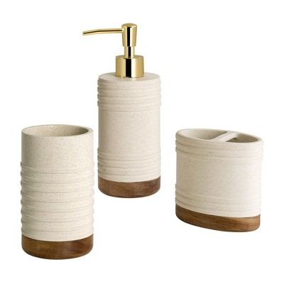 3pc Marson Lotion Pump/Toothbrush Holder/Tumbler Set Gray/Natural - Allure Home Creations