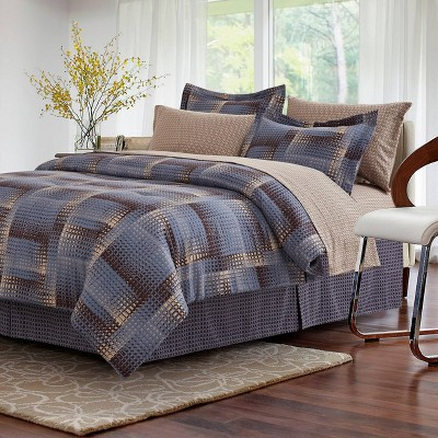 Shadow Box Bed in a Bag Comforter Set - Brown & Grey