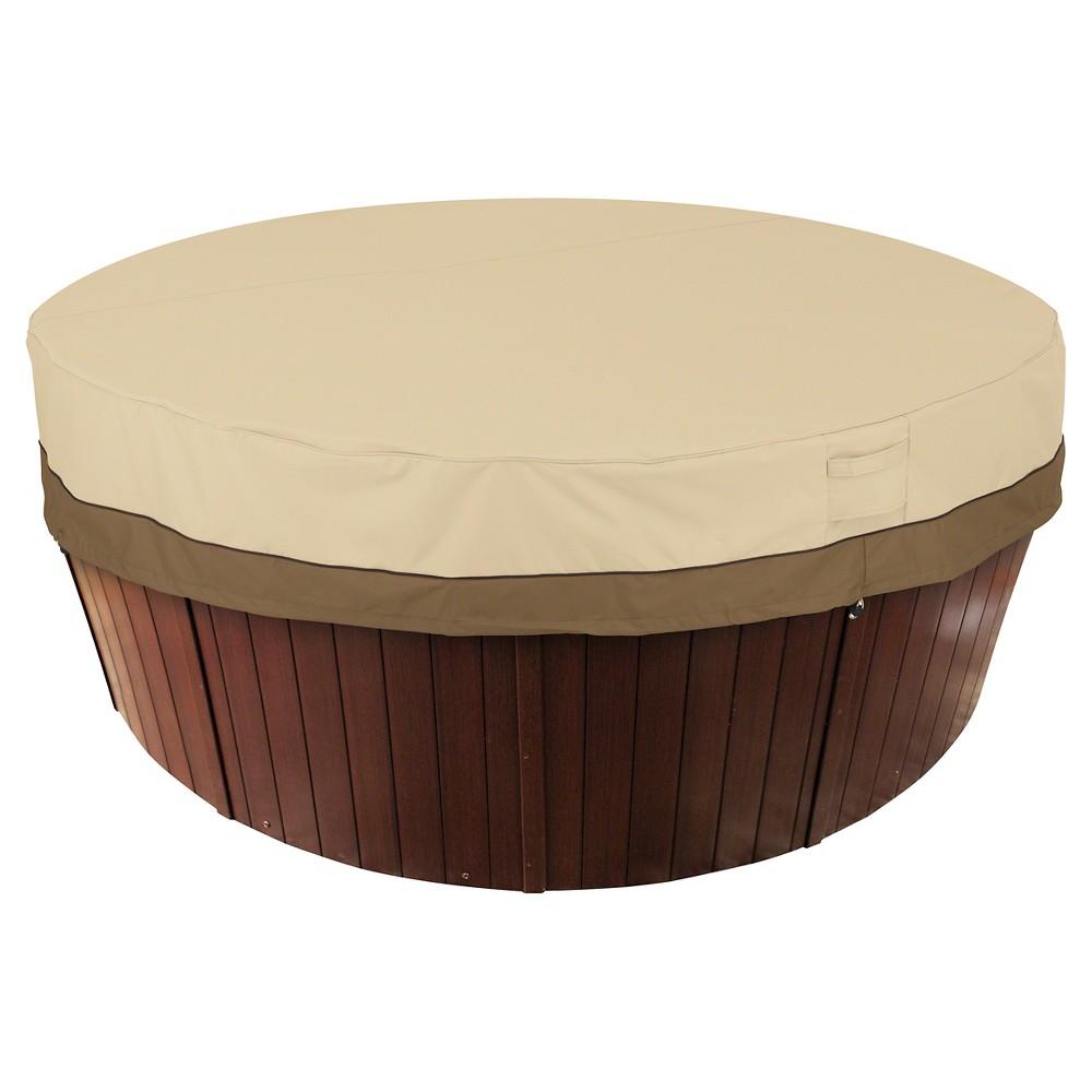 "Image of ""Veranda Round Hot Tub Cover 84"""" - Light Pebble - Classic Accessories, Gray"""