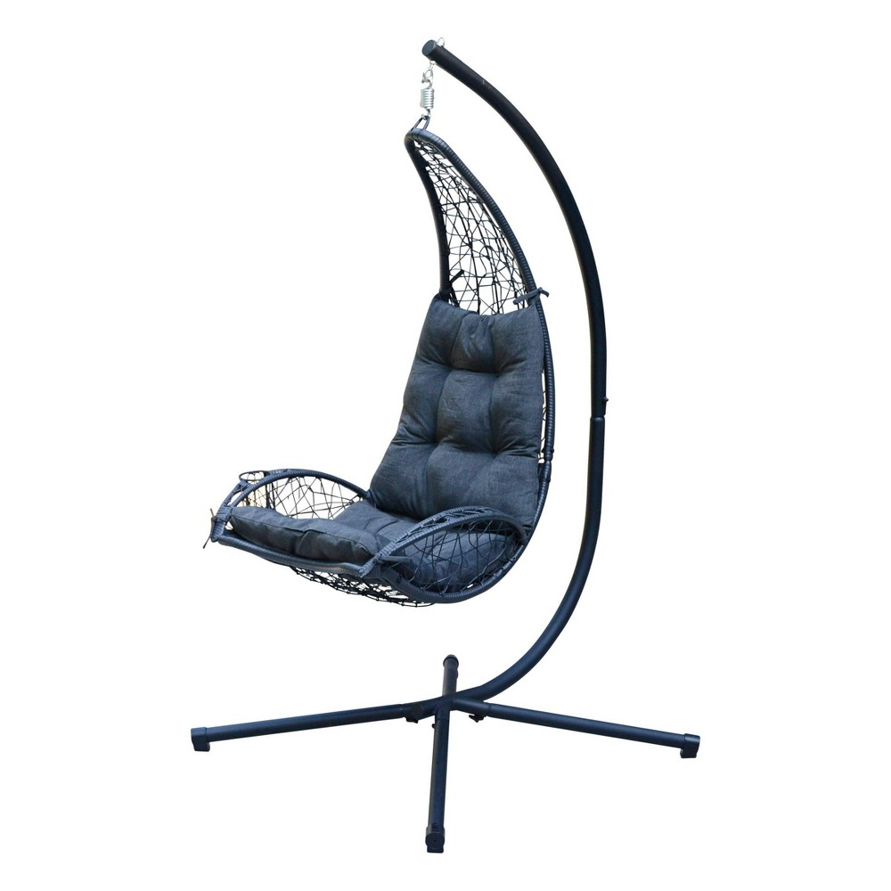 Cushioned Rattan Wicker Hanging Chair With Stand Gray Algoma