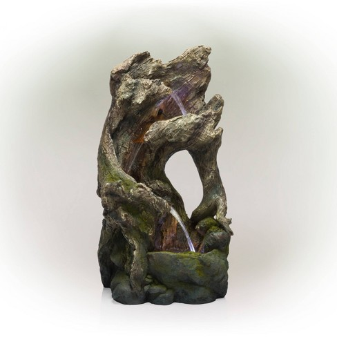 """Alpine Corporation 39"""" Tree Trunk Fountain With LED Lights - Brown - image 1 of 4"""