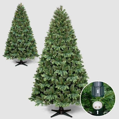 Philips 7.5ft Full Pre-lit Balsam Fir Artificial Christmas Tree AutoConnect with Remote Control Clear LED Lights