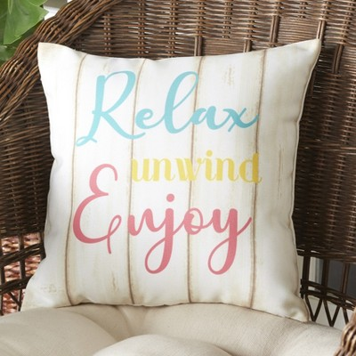 Lakeside Relax Unwind Enjoy Coastal Accent Throw Pillow for Outdoors