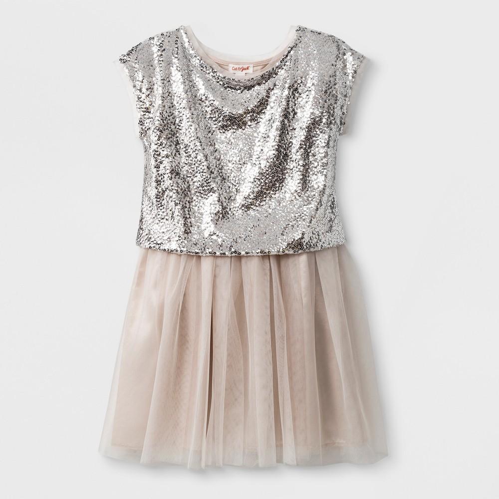 Plus Size Girls' 2pcSet Sequin Dressy Dress - Cat & Jack Cream M Plus, Beige