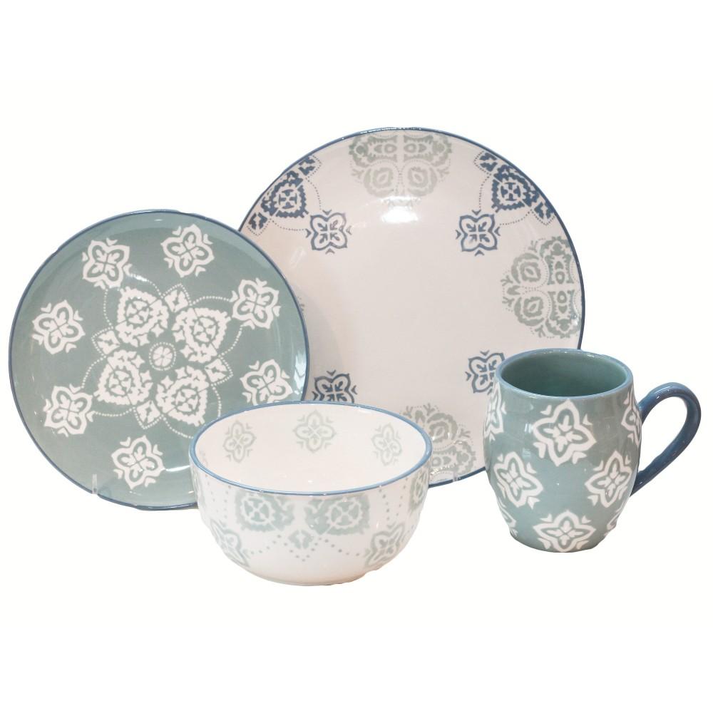 Image of 16pc Stoneware Painterly Dinnerware Set Baum Bros., White Blue