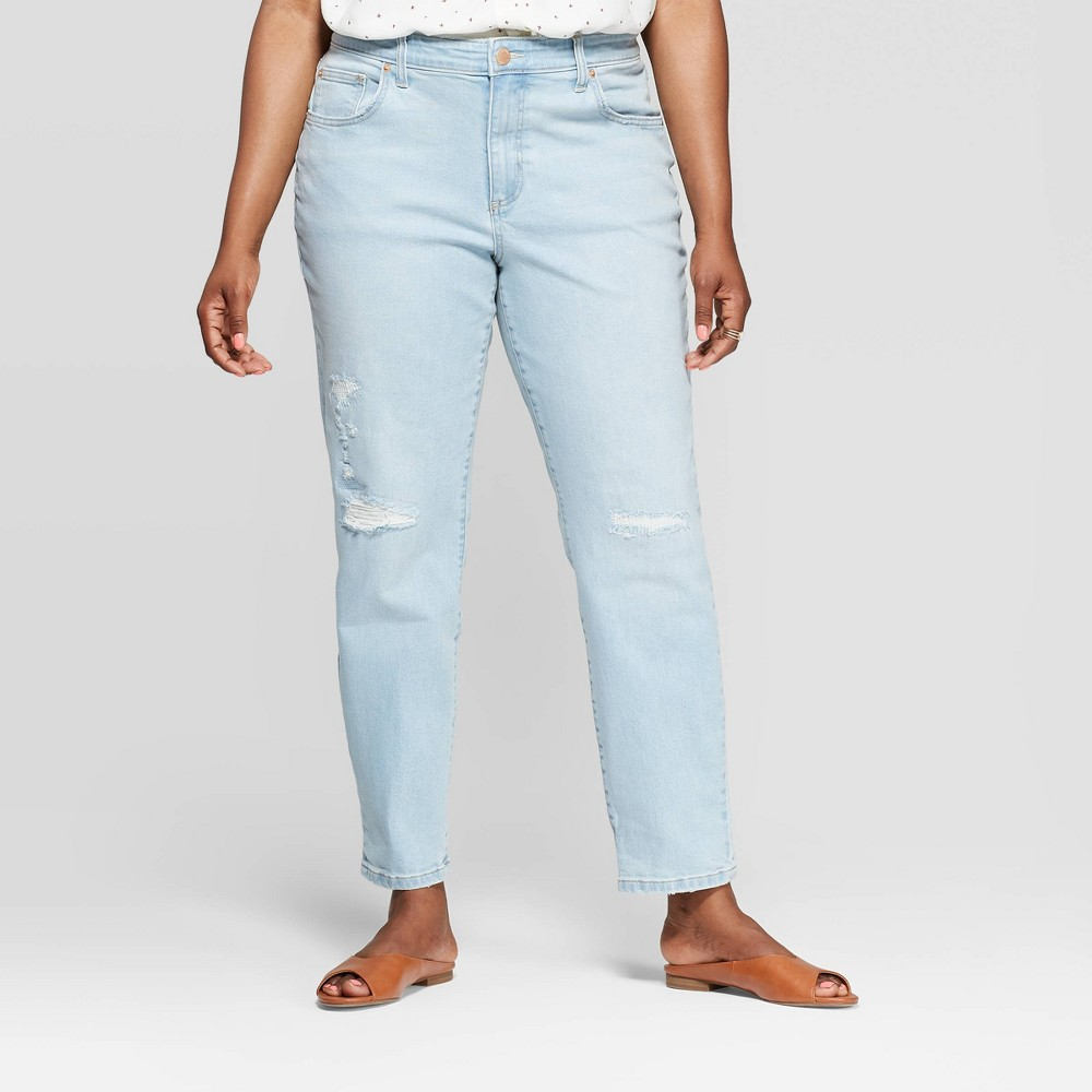 Low Price Women Plus Size Mid Rise Distressed Girlfriend Cropped Jeans Universal Thread Light Blue 24W