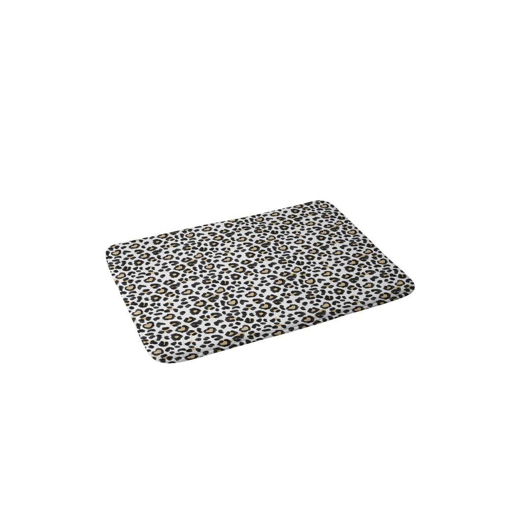 Image of Dash and Ash Leopard Heart Memory Foam Bath Mat Brown - Deny Designs