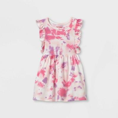 Toddler Girls' Tie-Dye Ruffle Short Sleeve Dress - Cat & Jack™ Pink/Purple
