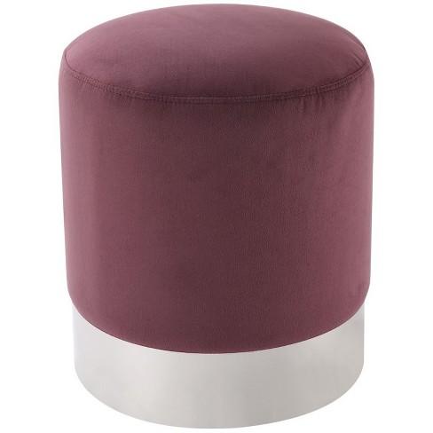 Jason Plum Velvet Round Ottoman - Chrome Metal Base - Upholstered in Purple - Posh Living - image 1 of 3