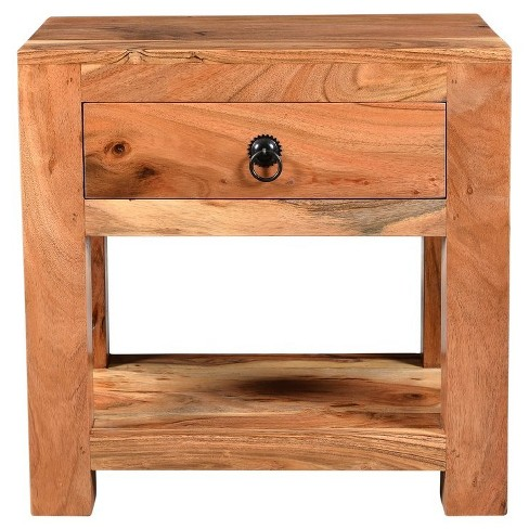 Ajmer Solid Wood Night Stand With 1 Drawer Brown Timber