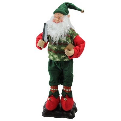 """LB International 24"""" Green and Red Animated Festive Tinkering Tom the Wood Smith Christmas Elf"""