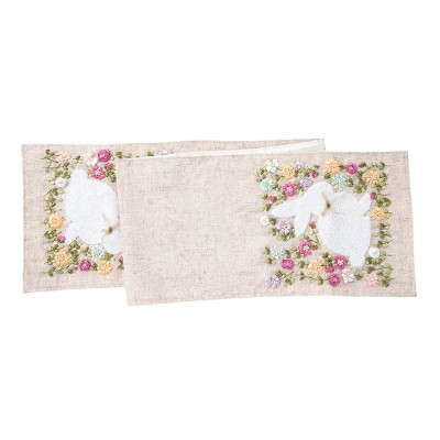 """C&F Home 13"""" x 72"""" Meadow Bunny Spring Hand Crafted Ribbon Art Table Runner"""