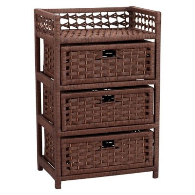 Household Essentials® Hand-Woven Paper Rope 3-Drawer Chest - Stained Rich Brown