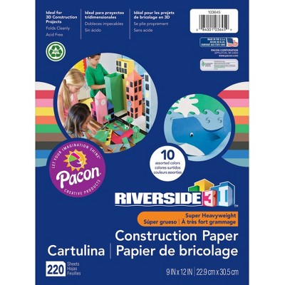 """Pacon Construction Paper 220-Sheet Acid-Free 9""""Wx12""""L Assorted 103645"""