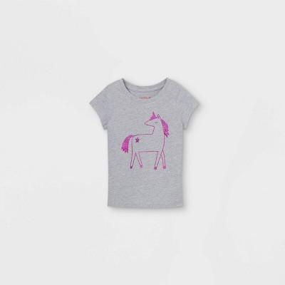 Toddler Girls' Sparkle Unicorn Short Sleeve Graphic T-Shirt - Cat & Jack™ Heather Gray
