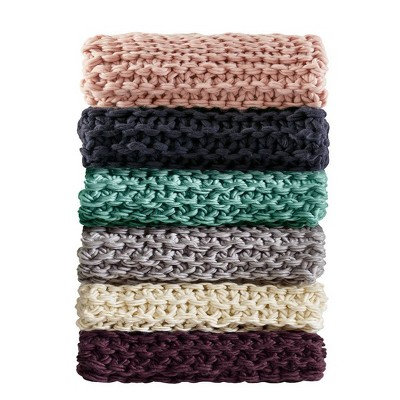 Chunky Knit Throw Blanket Aqua