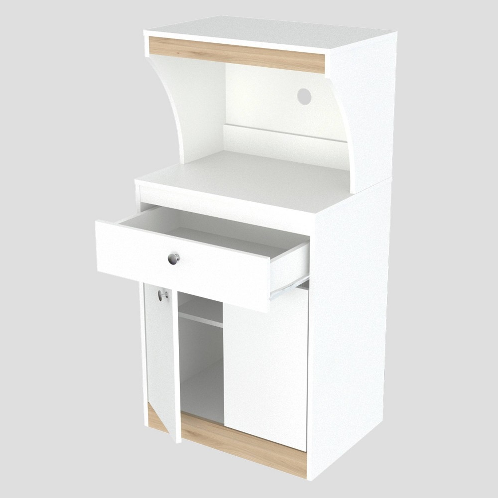 Image of 2 Door Kitchen/Microwave Storage Cabinet White/Vienes Oak - Inval