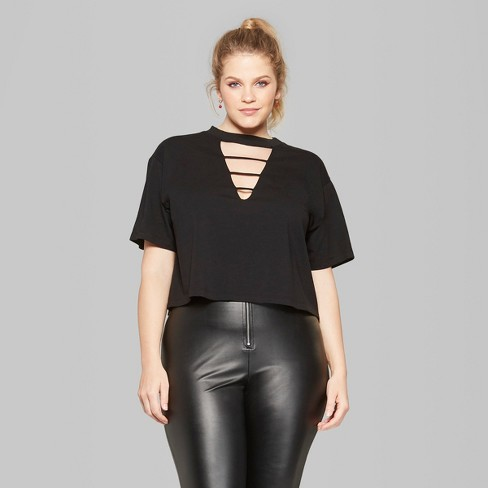 624668f33b8 Women s Plus Size Cropped Short Sleeve Lattice Collar Boxy T-Shirt - Wild  Fable™ Black 2X   Target