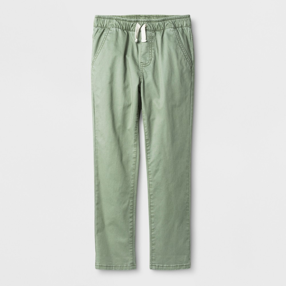 Boys' Chino Pull-On Twill Pants - Cat & Jack Green 14
