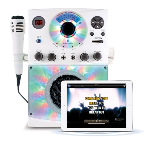 Singing Machine Bluetooth Karaoke System with LED Disco Lights, CD+G, and Microphone, White (SML385BTW) - image 1 of 4