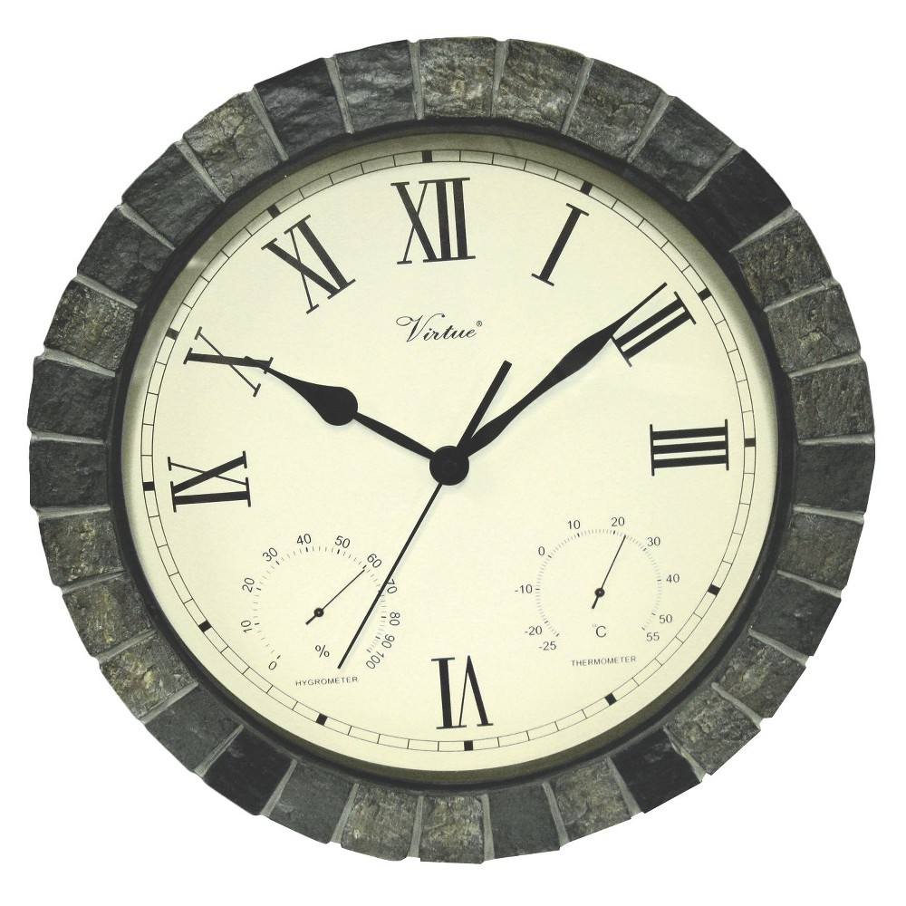 Weather Center 15 Round Wall Clock Off-White/Faux-Stone - Poolmaster For outdoor or indoor use, this 15 diameter 3-in-1 weather-resistant clock features second-hand quartz movement and large easy-to-read Roman numerals, surrounded by a faux stone frame. Thermometer and Hygrometer indicators are featured. Requires 1 AA battery - not included.