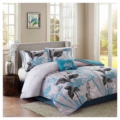 Kendall 9 Piece Comforter Set with Sheet Set- Aqua (Cal King)