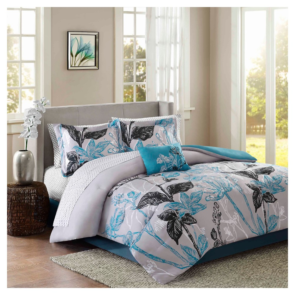 Kendall 9 Piece Comforter Set with Sheet Set- Aqua (Blue) (King)