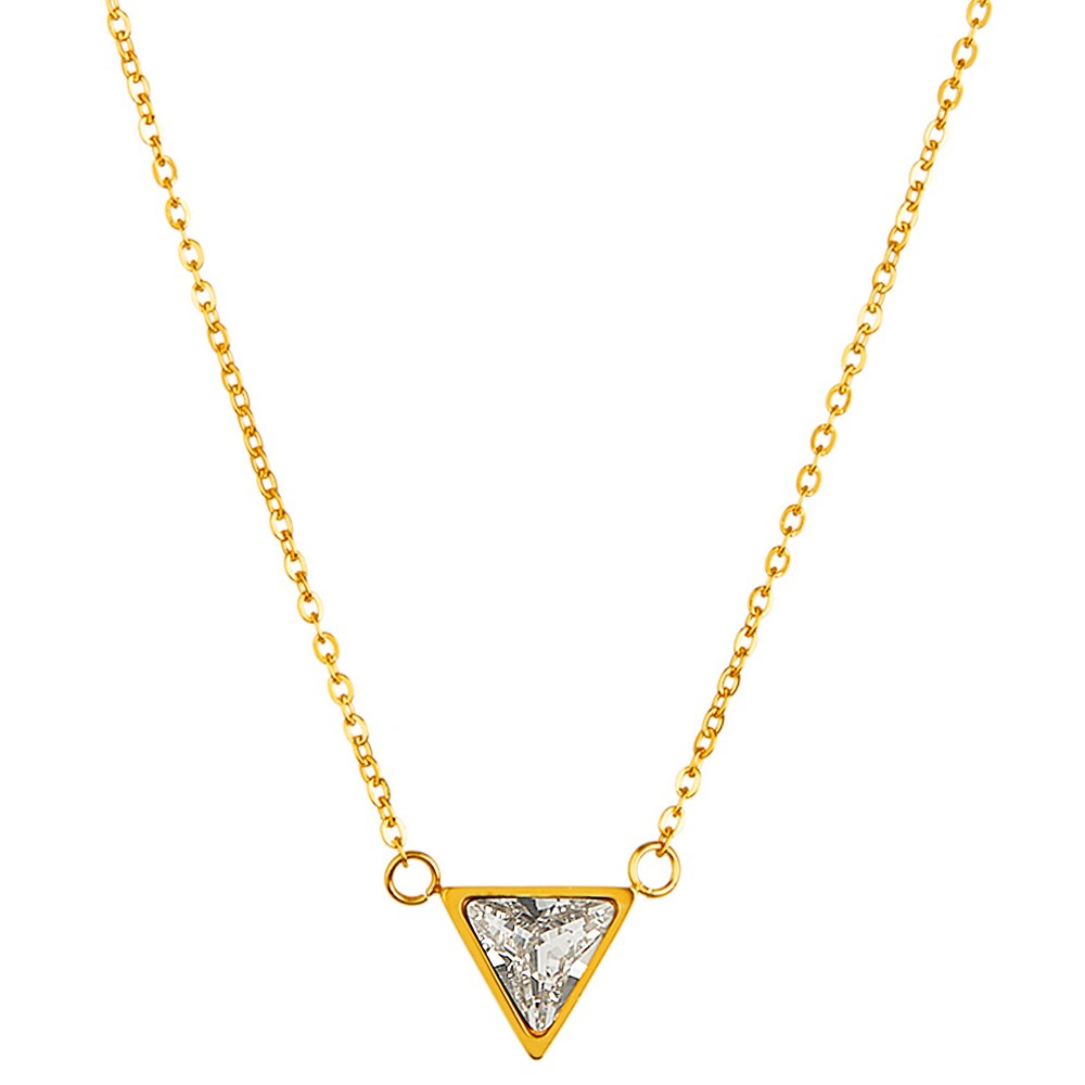 "Image of ""ELYA Triangle Cut Chain Necklace with Cubic Zirconia - Gold (18""""), Women's, Size: Small"""
