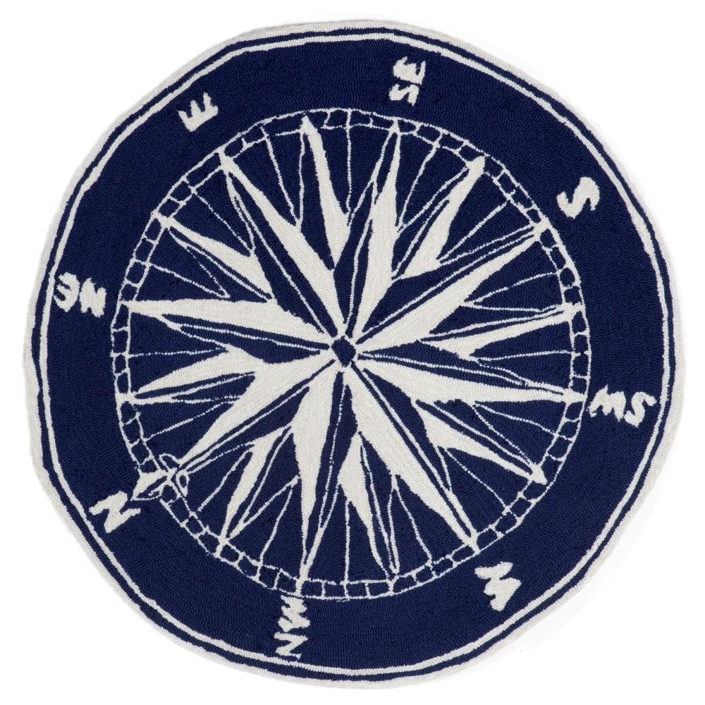 Liora Manne Frontporch Compass Indoor/Outdoor Area Rug - Blue (5' Round)