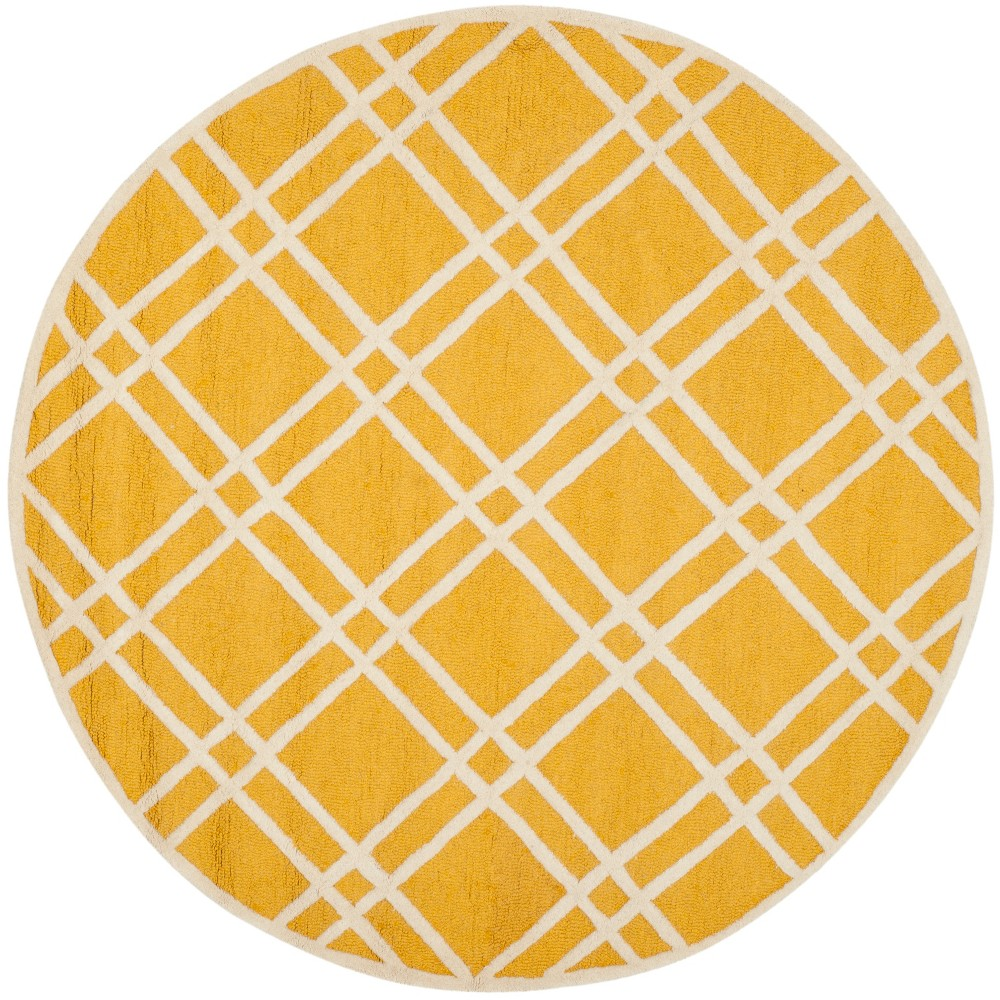 6 Geometric Round Area Rug Gold Ivory Safavieh