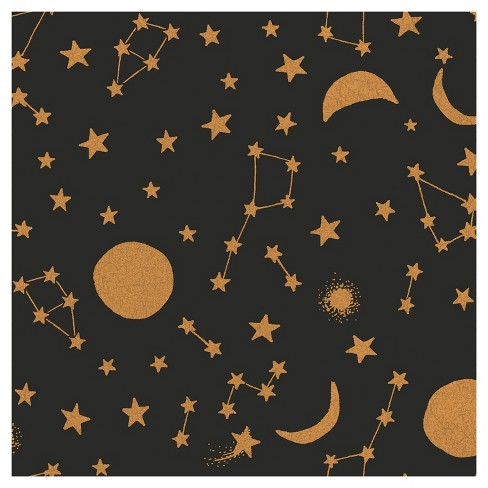 Tempaper - Kids Celestial Self-Adhesive Removable Borders + Stripes  - Midnight & Metallic Gold - image 1 of 5